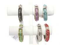 Folding Metal Bracelet with 12 PCS in Box, Silver Plating with Round Kundan work. Colors: Black, Turquoise, Crystal, Green, Red, Purple, Red  - 2 pieces each color in a box