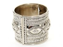 "Metal Folding Bracelet, Size:2"" Broad, Silver Plating, 6 Design Mix(6 Pieces in Box)"