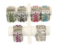 "Metal Folding Bracelet, Size 1.5"" Broad(12 Pieces in Box) Silver Flat Design with Kundan"