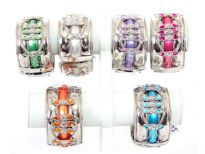 "Folding Metal Bracelet Size: 1.5"" Broad(12 PCS in Box) Silver Plating, Monalisa/Tr. Kundan, Color: Turquoise, Pink, Purple, P.Green, White, Orange"