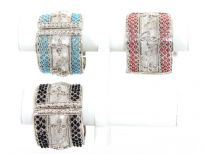 "Metal Folding Bracelets Size: 2"" Broad,(6 PCS in Box)Silver Plating, TR Glass Beads, Color: Black 2, Turquoise 2, Fuchsia 1 & Green 1"