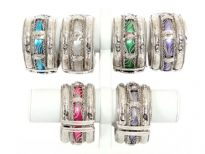 "Folding Metal Bracelets Size 1.5"" Broad, (12 pieces Box) Colors - White, Purple, Turquoise, Pink, Grey & Parrot Green - 2 each color"