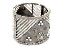 Metal Folding Bracelets, Silver/Kundan (6 Pieces in Box)Colors: Amethis, Grey, Csystal, Black OXO Polish
