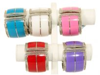 "Metal Folding Bracelet Size: 2"" Broad, (6 PCS in BOX) Color: White, Black, Purple, Pink, Red, Turquoise"