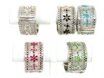 "Folding Metal Bracelet Size: 1.5"" Broad,(12 PCS in Box) Silver Plating, Flat Design, Kundan/Zari Work, Color: Black, Turquoise TR. Fuchsia, Amethis, Crystal, P.Green"