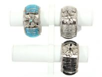 "Folding Metal Bracelets, size: 1.5"" Broad, (12 pieces Box) Colors - Black, Turquoise, Crystal - 4 each color"