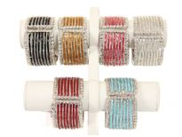 Metal Folding Bracelet, (12 PCS in Box) Silver Plating, Glass Sali Beads, Colors: Topaz, Maroon, Crystal, Red, Black, Turquoise