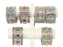 Metal Folding Bracelet, ( 12 PCS in Box) Silver Plating, Kundan work, Colors: Turquoise, P.Green, Blue, Crystal, Black, Red (2 PCS Each)
