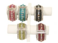 Metal Folding Bracelet,( 12 PCS in Box) Silver Plating, Kundan Work, Colors: Turquoise, Black, Crystal, Red, Fuchsia, Green (2 PCS each)