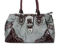 Faux Leather studded belt handbag. Top zipper closing.Back Outside zipper pocket