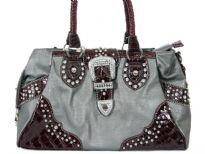 Faux Leather studded belt handbag. Top zipper closing.Back Outside zipper pocket