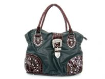 Faux Leather Rhinestones studded bag. Center divider, back outside zipper and cell phone pocket. Belt like clasp over top zipper closing of the bag.