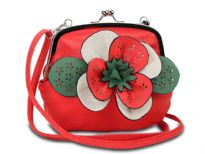 Faux leather clutch bag has a kiss lock closure, a detachable single strap and a colorful accentuating floral detail.
