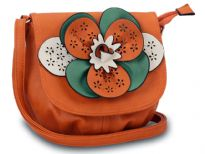 Faux leather crossbody small bag has a large floral detail with contrasting colors. Bag has an adjustable strap, top zipper closuer and front flap closure. Made of faux leather.