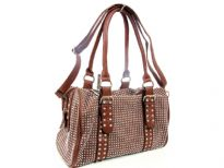 Faux Leather Metal studded double handle fashion handbag. Top zipper closing. Inside zipper pocket. Adjustable shoulder strap included.