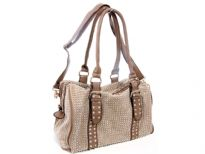 Faux Leather Metal studded double handle fashion handbag. Top zipper closing. Inside side zipper pocket. Adjustable shoulder strap included.