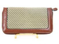 Crochet embossed faux leather all-round zipper wallet