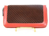 Crochet embossed faux leather all-round zipper wallet.