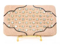 Faux Leather Rhinestones studded Metal frame clutch wallet.