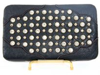 Faux Leather Rhinestones studded metal frame clutch wallet