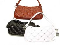 Designer Inspired Handbag has a checkered pattern with studded details. Bag also has a single strap. Made of faux leather.