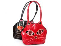 Genuine Leather Cat Handbag. Double handle and top zipper closure.