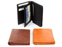 Carry your credit cards and ID in style. This is a genuine leather bi-fold slip wallet featuring 6 credit card slots and 1 ID Window. There is no currency/bill slot. As this is genuine leather, please be aware that there will be some small creases and nicks in the leather but the wallet are all brand new.