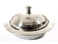 Stainless Steel Curry Dish with Dome Shaped Lid - Hammered by hand