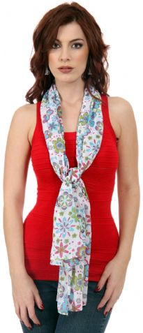 Floral Print Cotton Scarf has flowers of all shapes and colors in different colors. This scarf can light up any outfit & can be worn in different ways.