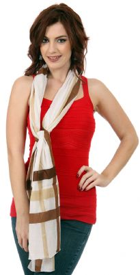 Beige colored 100% cotton scarf has broad vertical as well as horizontal stripes in shades of brown. An all seasons scarf is soft & lightweight. Imported. Hand wash.