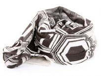 Black & white Print Cotton Scarf with hexagon like print on it. Lightweight & soft scarf can be used all year round and can be tied in any way. Imported. Hand wash.