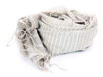This grey colored cotton scarf has white horizontal stripes  all over it with twisted fringes on its ends. Imported. Hand wash.