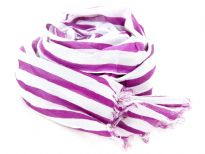 Purple stripes over white 100% cotton scarf with eyelash fringes on its ends. Imported.