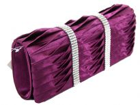 Satin Evening bag embellished with two Rhinestones strips. Magnetic snap button closing. Metal shoulder chain included.