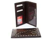 Crocodile embossed genuine leather double gun concho check book wallet with zipper pocket