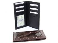 Crocodile embossed genuine leather Cross concho check book wallet