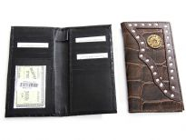 Crocodile embossed genuine leather Bullet Concho check book wallet