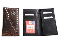 Crocodile embossed genuine leather Star Concho check book cover.