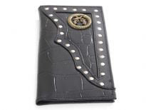 Crocodile embossed genuine leather Pistol Concho check book wallet