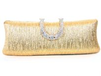 Patterned Metal Frame Evening Bag with Rhinestones clasp over it.