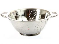 Stainless Steel 24 cm Colander. Hand Buffed and Hand Polished. Made in India.