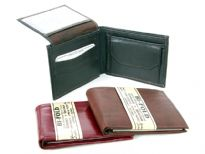 Mens double bill bifold wallet with ID flap. There are minimum 8 credit card slots in addition to the ID top flap. There is a coin pocket. This wallet is made of genuine cowhide leather. As this is genuine leather, please be aware that there will be some small creases and nicks in the leather but the wallet are all brand new.