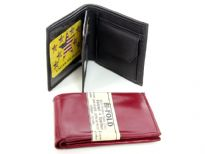 Double Bill Genuine Leather Mens Wallet with multiple clear slots for IDs. This wallet has 3 non-clear slots and 3 clear slots. There is a middle flap; and a slot of coins. As this is genuine leather, please be aware that there will be some small creases and nicks in the leather but the wallet are all brand new.