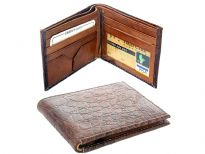 Carry your money in style. This is a crocodile embossed genuine leather double bill bifold wallet. As this is genuine leather, please be aware that there will be some small creases and nicks in the leather but the wallet are all brand new.