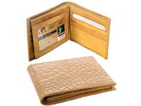 Genuine leather crocodile embossed men bi-fold double bill wallet. As this is genuine leather, please be aware that there will be some small creases and nicks in the leather but the wallet are all brand new.