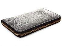 Crocodile embossed genuine leather ladies zipper wallet.