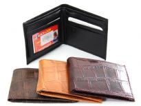 Crocodile embossed faux leather bi-fold men wallet