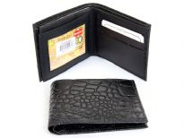 Crocodile embossed genuine leather bi-fold men wallet