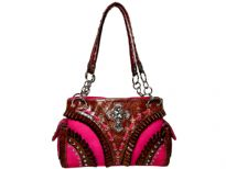 Rhinestones studded Cross double handle Bag. Top zipper closing. Center divider and inside side Zipper pocket.