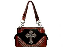 Rhinestones Studded Cross Double Handle Bag. Top zipper closing. Center divider & zipper pockets inside the bag. Two side pockets outside with flaps over them.
